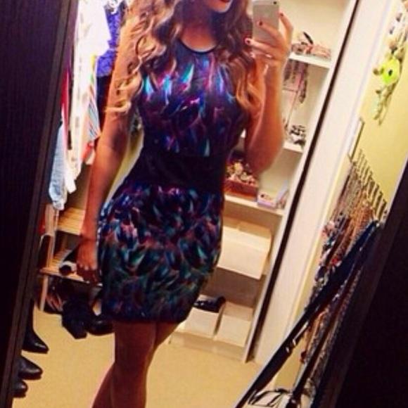 Mini dress with pleather waist